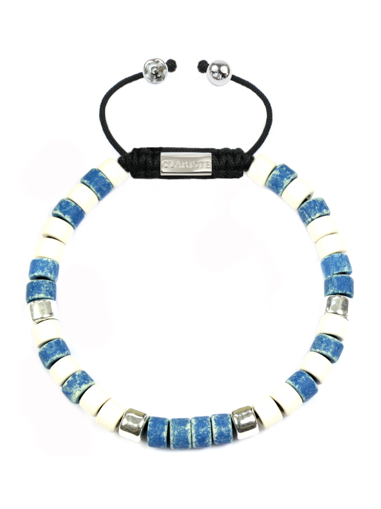 Men's Ceramic Bead Bracelet Blue, White and Silver