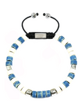 Men's Ceramic Bead Bracelet Blue, White and Silver | Clariste Jewelry