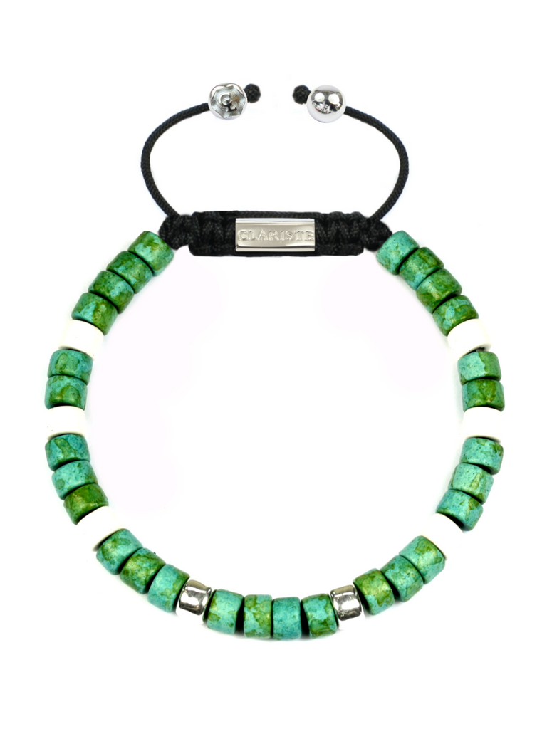 Men's Ceramic Bead Bracelet Green, White and Silver