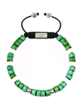 Men's Ceramic Bead Bracelet Green, White and Silver | Clariste Jewelry