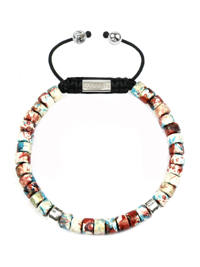 Men's Ceramic Bead Bracelet Red Graffiti