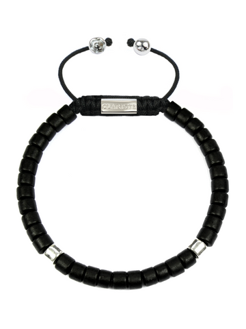 Men's Ceramic Bead Bracelet Black and Silver
