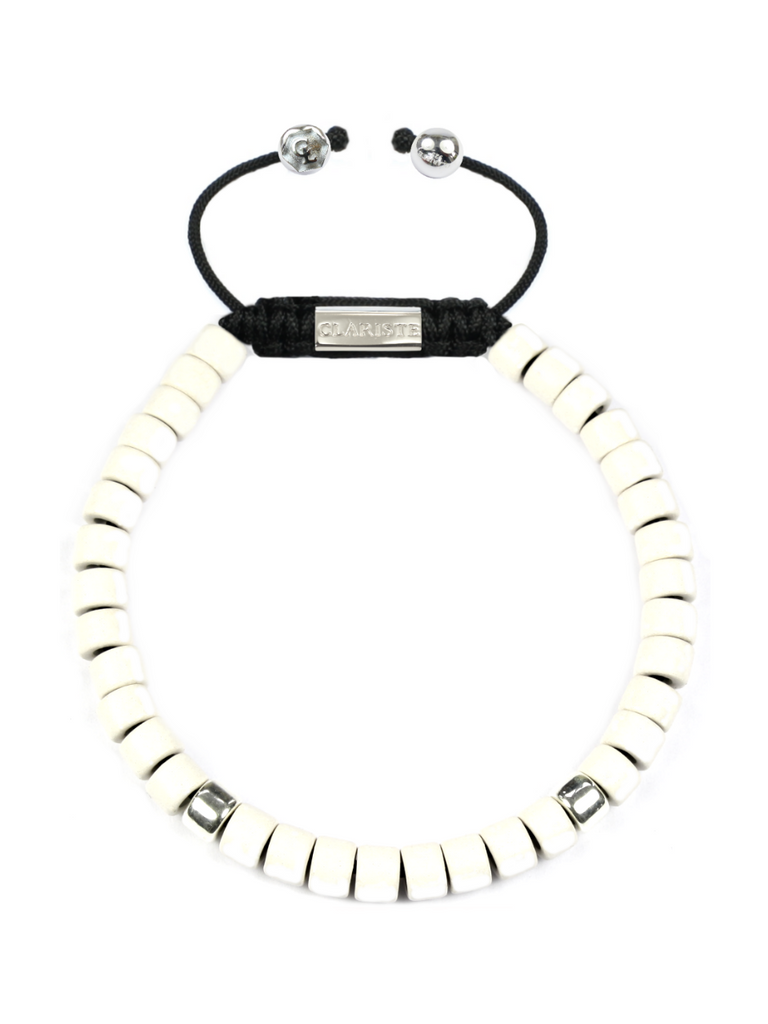 Men's Ceramic Bead Bracelet White and Silver