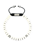 Men's Ceramic Bead Bracelet White and Silver | Clariste Jewelry