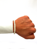 Men's Ceramic Bead Bracelet White and Silver | Clariste Jewelry - 2