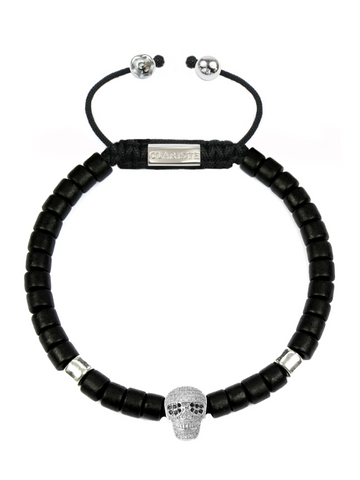 Men's Black Ceramic Bead Bracelet with Silver Skull