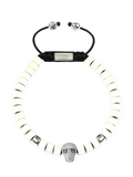 Men's Ceramic Bead Bracelet White with Silver Skull | Clariste Jewelry
