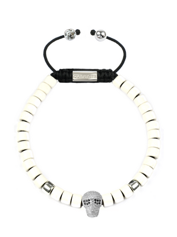 Men's Ceramic Bead Bracelet White with Silver Skull