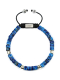 Men's Ceramic Bead Bracelet Blue Graffiti | Clariste Jewelry