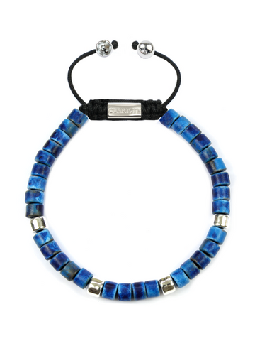 Men's Ceramic Bead Bracelet Blue Graffiti