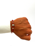 Men's Ceramic Bead Bracelet Red with Silver Skull | Clariste Jewelry - 2
