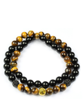 Men's Double Beaded Bracelet with Brown Tiger Eye, Black Agate and Gold | Clariste Jewelry