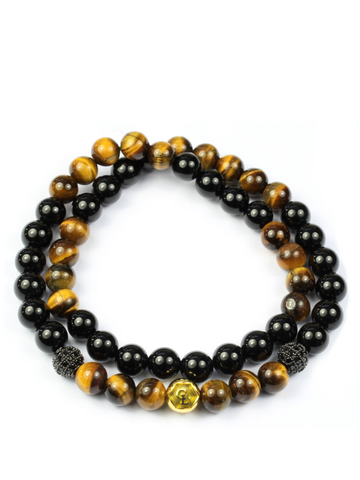 Men's Double Beaded Bracelet with Brown Tiger Eye, Black Agate and Gold