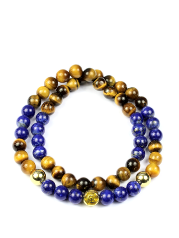 Men's Double Beaded Bracelet with Blue Lapis, Brown Tiger Eye and Gold