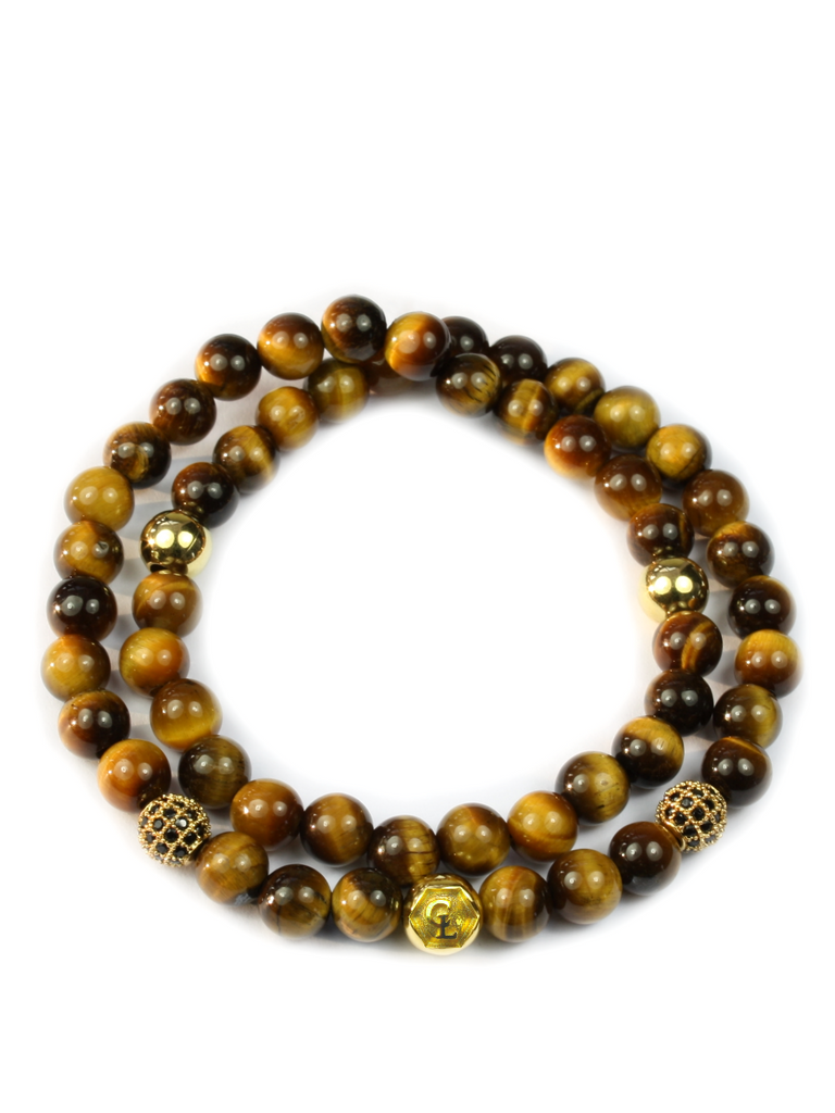 Men's Double Beaded Bracelet with Brown Tiger Eye, CZ Diamonds and Gold
