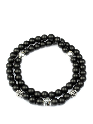 Men's Double Beaded Bracelet with Matte Onyx, CZ Diamonds and Silver