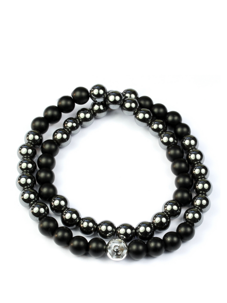 Men's Double Beaded Bracelet with Hematite, Matte Onyx and Silver