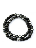 Men's Double Beaded Bracelet with Hematite, Matte Onyx and Silver | Clariste Jewelry