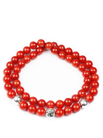Men's Double Beaded Bracelet with Red Coral and Silver