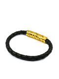 Men's Black Leather Bracelet with Gold Lock | Clariste Jewelry - 2