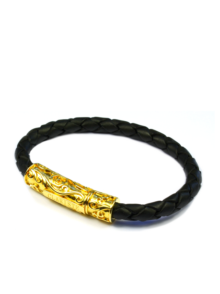 Men's Black Leather Bracelet with Gold Lock