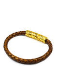 Men's Brown Leather Bracelet with Gold Lock | Clariste Jewelry - 2