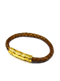 Men's Brown Leather Bracelet with Gold Lock | Clariste Jewelry