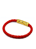Men's Red Leather Bracelet with Gold Lock | Clariste Jewelry - 2