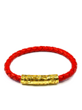 Men's Red Leather Bracelet with Gold Lock | Clariste Jewelry - 3
