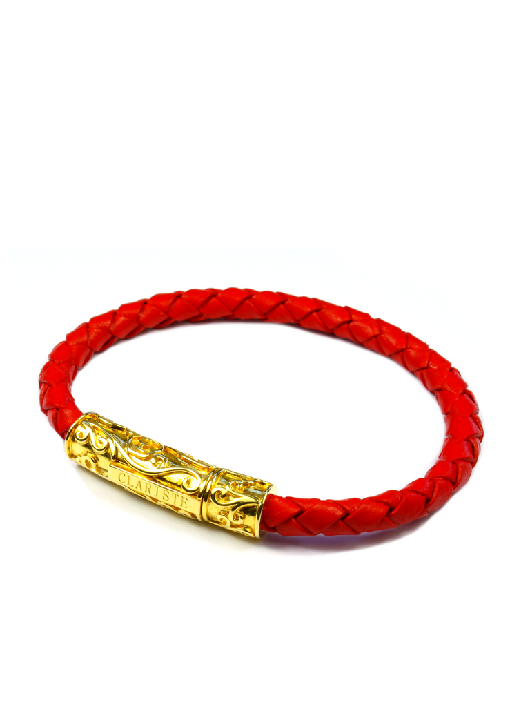 Men's Red Leather Bracelet with Gold Lock