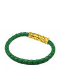 Men's Green Leather Bracelet with Gold Lock | Clariste Jewelry - 2