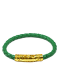 Men's Green Leather Bracelet with Gold Lock | Clariste Jewelry - 3