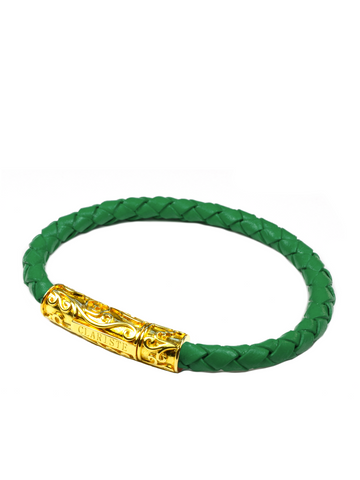 Men's Green Leather Bracelet with Gold Lock