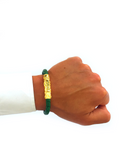 Men's Green Leather Bracelet with Gold Lock | Clariste Jewelry  - 4