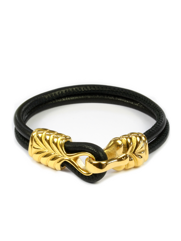 Men's Black Leather Bracelet with Gold Hook Clasp