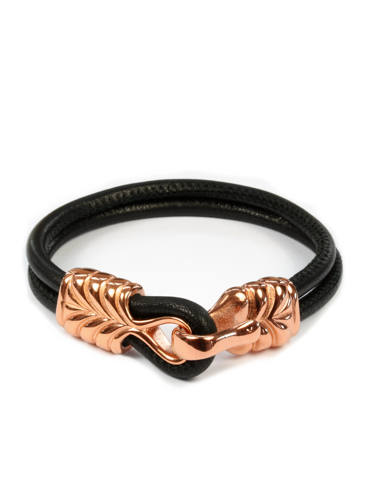 Men's Black Leather Bracelet with Rose Gold Hook Clasp