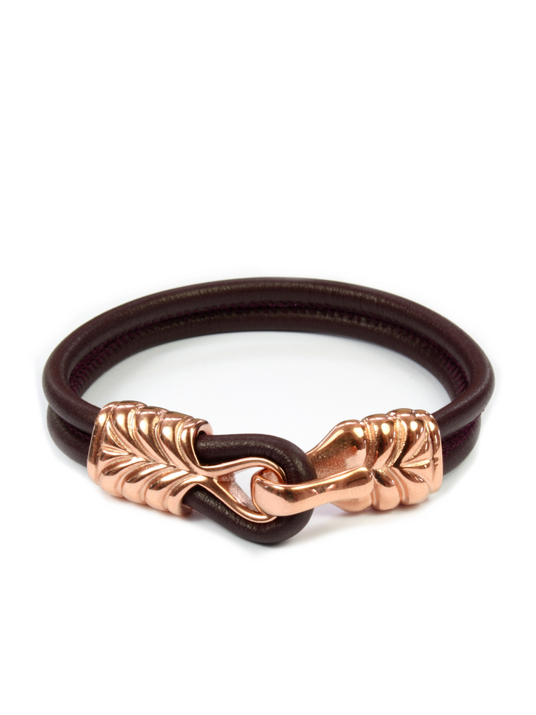 Men's Red Leather Bracelet with Rose Gold Hook Clasp