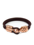 Men's Red Leather Bracelet with Rose Gold Hook Clasp - Clariste Jewelry