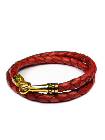 Statement Leather Bracelet Red and Gold
