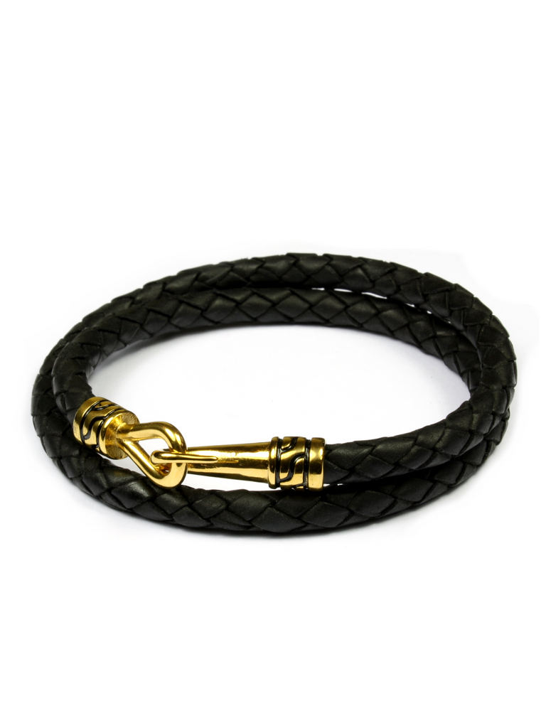 Statement Leather Bracelet Black and Gold
