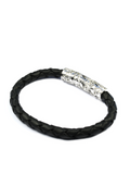 Men's Black Leather Bracelet with Silver Lock | Clariste Jewelry - 2