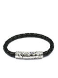 Men's Black Leather Bracelet with Silver Lock | Clariste Jewelry - 3