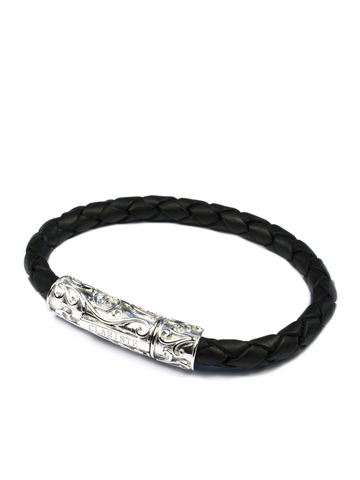 Men's Black Leather Bracelet with Silver Lock