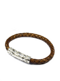 Men's Brown Leather Bracelet with Silver Lock | Clariste Jewelry