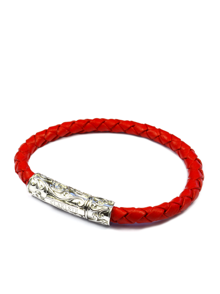 Men's Red Leather Bracelet with Silver Lock
