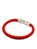 Men's Red Leather Bracelet with Silver Lock | Clariste Jewelry - 2