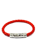 Men's Red Leather Bracelet with Silver Lock | Clariste Jewelry - 3