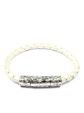 Men's Pearl White Leather Bracelet with Silver Lock | Clariste Jewelry - 3