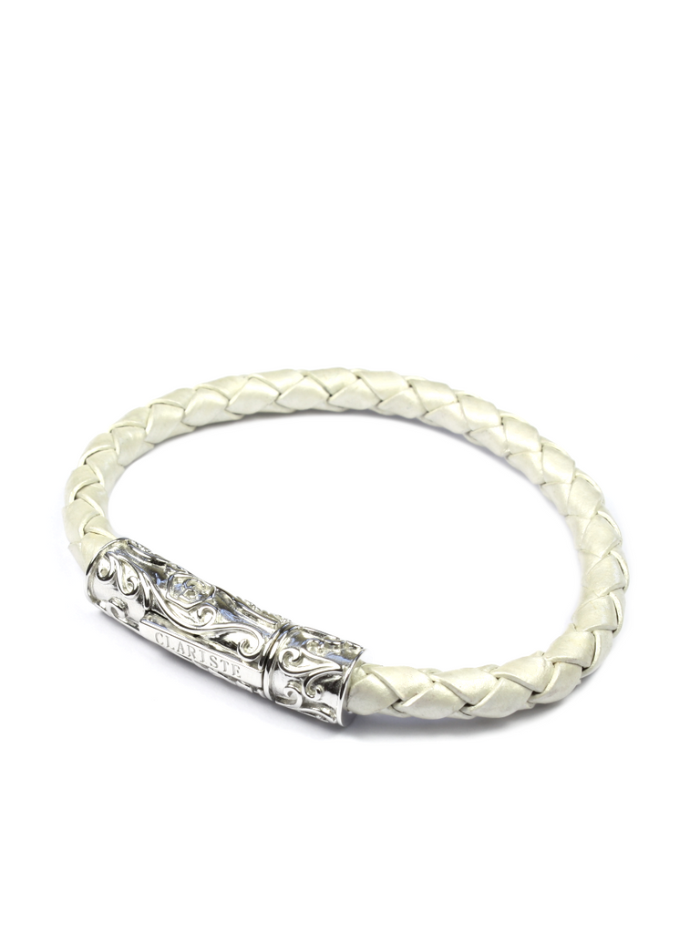 Men's Pearl White Leather Bracelet with Silver Lock