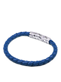 Men's Blue Leather Bracelet with Silver Lock | Clariste Jewelry - 2